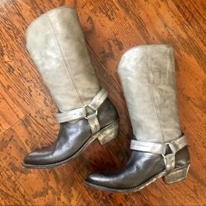 Golden Goose Gunmetal & Black Buckle Cowgirl Boots